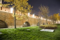 Wall in Kitay-gorod at Night, Moscow, Russia Royalty Free Stock Photo