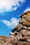 The wall of Korela fortress. Old fortress wall against blue sky background royalty free stock images
