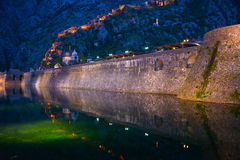 Wall of night Kotor. The wall of medieval Kotor city in evening, Bay of Kotor, Montenegro Stock Photography