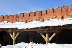Wall of Kremlin, Veliky Novgorod. Russia royalty free stock image