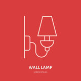 Wall lamp flat line icon.   Stock Photography