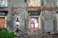 Wall with lamp and painted windows. Romantic Wall with lamp and painted windows Royalty Free Stock Image
