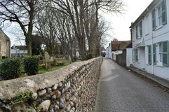Lane behind The Church at Shoreham. Wall and Lane behind The Church at Shoreham West Sussex UK stock image