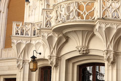 Wall with lantern and tracery balcony Royalty Free Stock Image