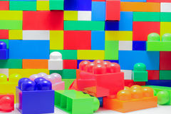 A wall of large blocks of Lego Royalty Free Stock Images