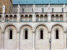 Wall of the large cathedral in Hungary. Part of the wall in front of a large Catholic cathedral Royalty Free Stock Images