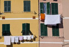 Wall with laundry Royalty Free Stock Photos