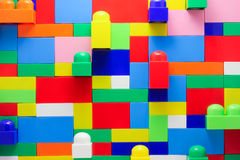 Wall of Lego blocks_. Wall of large blocks of different colors of Lego Royalty Free Stock Photography