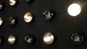 Wall of lighting bulbs stock footage