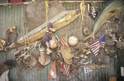 Wall of a local bar decorated with ocean debris, Virginia Key, Miami, Florida Stock Photography