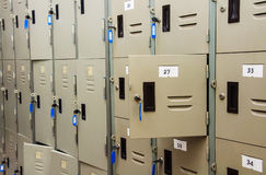 A wall of lockers. Royalty Free Stock Photo