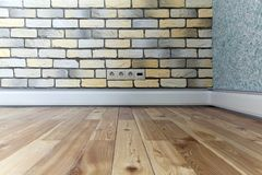 Wall with loft brick facing in yellow, white and gray Royalty Free Stock Photography