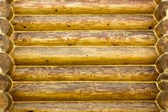 Wall log house with a beautiful texture treated.  Stock Photos