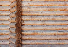 Wall from logs with corner wall junction. Stock Photography