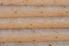Wall of logs. Fragment. Royalty Free Stock Photography