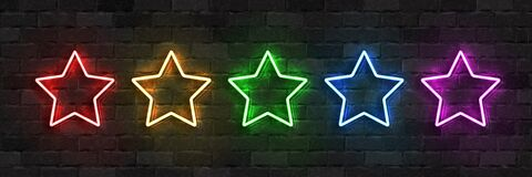 Vector set of realistic isolated neon sign of Star logo with different colors for template decoration and covering on the wall bac