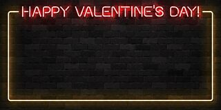 Vector realistic isolated neon sign of Happy Valentines Day frame logo for template decoration and covering on the wall background