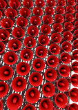 Wall of loud. Conceptual image of a wall of bright red loudspeakers Royalty Free Stock Photos