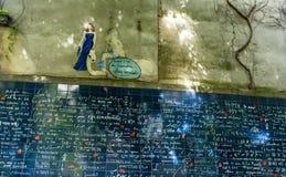 The Wall of Love Le Mur des Je t`aime in Paris. France Stock Photos