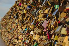 Wall of Love locks on Pont des arts bridge in Paris Stock Photography
