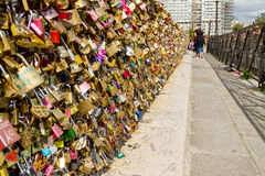 Wall of love. Locks in Paris stock photos