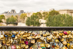 Wall of love. Locks in Paris near Versal royalty free stock photography