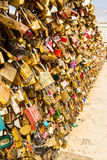 Wall of love. Locks in Paris near Versal stock images