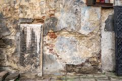 Lviv city center. Wall of Lviv old town in the center Lviv city, Ukraine Stock Image