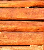 Wall made ​​of wooden beams Royalty Free Stock Image