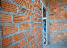 Wall made brick in residential building construction Royalty Free Stock Photography