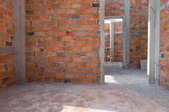 Wall made brick in residential building construction Royalty Free Stock Photo