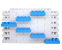 Wall made of bricks. The wall of the children's blocks. Isolated render on a white background Stock Images