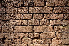 Wall made of bricks made ​​of lava Royalty Free Stock Photo