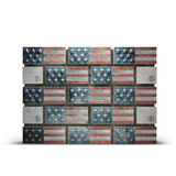 Wall made of bricks showing USA flag. Colors. Wall made of bricks showing USA flag. Illustration of Immigration`s US Politics since 2017 Stock Photo