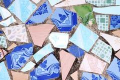 Wall made from broken tile Stock Photos