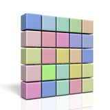 Wall made of colorful boxes. Stock Photo