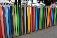 Wall made of coloured pencils Royalty Free Stock Photos