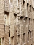 Wall made of cut wood textures and background royalty free stock photo