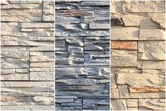 Wall made of decorative finishing stone of different colors. Mix samples facade decoration. Royalty Free Stock Images