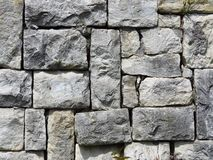 Wall made of grey gray stone blocks. Suitable for background or wallpaper. Brickwork. Stone wall cladding. Old Grey Stone Wall Wallpaper royalty free stock image