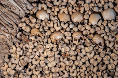 The wall made of human bones and skulls Stock Photography