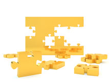 Wall made from jigsaw pieces. Illustration of wall partly built from gold jigsaw pieces isolated on white background Stock Image