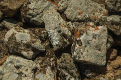 Free Wall Made Of Stones With Moss And Lichens At Evoramonte Stock Images - 145162444