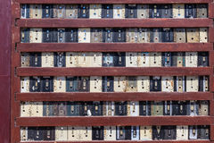 Wall made of old cassette tapes Royalty Free Stock Image