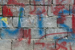 Wall. Made of prefabricated cement blocks Royalty Free Stock Image