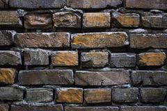 Old grunge brick wall background close-up photo royalty free stock photos