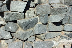 Wall made of stones. Large dark gray stones stacked as a wall Stock Photography