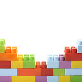 Wall made of toy bricks isolated Royalty Free Stock Images