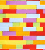 Wall made of toy construction bricks Royalty Free Stock Images