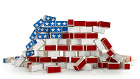Wall made of USA flag bricks collapsing. Illustration of Immigration`s US Politics since 2017 Stock Image